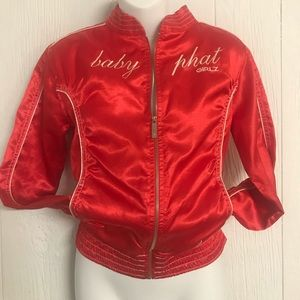 Baby Phat silky red zip up jacket